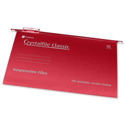 Twinlock Crystalfile Classic Suspension File Manilla V-base 15mm A4 Red Ref 78161 - Pack 50