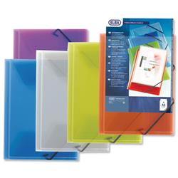 Elba Polyvision Elasticated Folder 3-Flap Polypropylene A4 Clear Ref 100201153 [Pack 12]