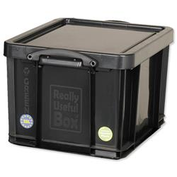 Really Useful Storage Box Plastic Recycled Robust Stackable 35 Litre W390xD480xH310mm Black Ref 35L