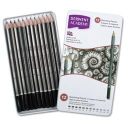 Derwent Academy Sketching Pencils 6B - 5H Ref 2301946 - Pack 12