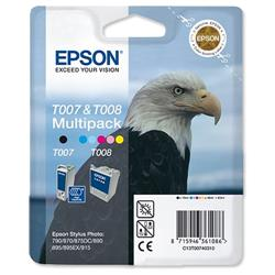 Epson T007/T008 Inkjet Cartridge Black/Colour Ref C13T00740310 - Pack 2