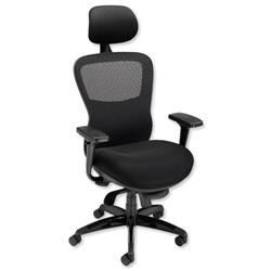 Adroit Montgomery Heavy Duty Armchair Mesh Back 540mm Seat W550xD490xH530-595mm Black