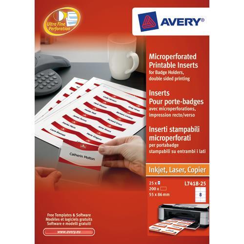 avery name badges laser printable refill kit 8 per card w86 5xh55