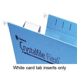 Twinlock Crystalfile Flexifile Card Inserts for Suspension File Tabs White Ref 3000058 - Pack 50