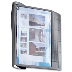 Durable Display System Wall Unit Contoured with Fixings and 10 Panels A4 Ref 585401