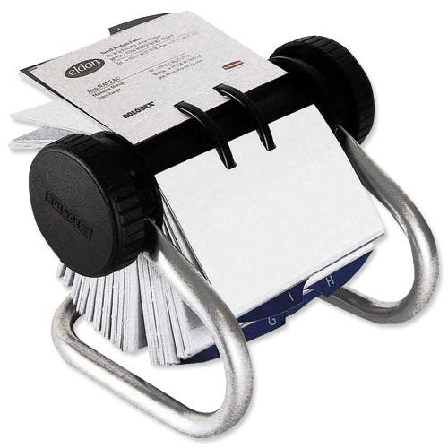 rolodex classic 200 rotary business card index file with 200 sleeves 24 a z index tabs chrome ref 67237 - Business Card Rolodex