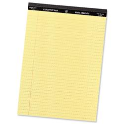 5 Star Office Executive Pad Perforated Top Feint Ruled Blue Margin Red 50 Yellow Sheets A4 [Pack 10]
