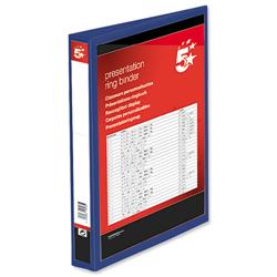 5 Star Office Presentation Ring Binder PVC 4 D-Ring 38mm Size A4 Blue [Pack 10]