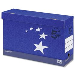 5 Star Elite Transfer Case Hinged Lid Foolscap Blue [Pack 10]