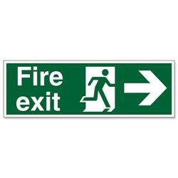 Stewart Superior Fire Exit Sign Man and Arrow Right 600x200mm Self-adhesive Vinyl Ref NS002