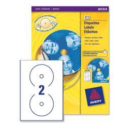 Avery J8676 Full Face Inkjet CD Labels Matt 117mm Dia. Ref J8676-25 - 25 Sheets