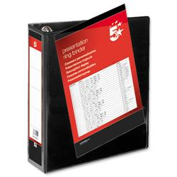 5 Star Office Presentation Ring Binder Polypropylene 4 D-Ring 65mm Size A4 Black [Pack 10]