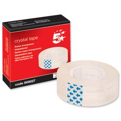 5 Star Office Crystal Tape Roll Easy-tear Permanent Secure 19mm x 33m