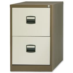 Trexus Contract Filing Cabinet Steel Lockable 2-Drawer W470xD622xH711mm Coffee and Cream Ref 395009