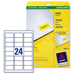 Avery L6035 Coloured Labels Laser 24 per Sheet 63.5x33.9mm Yellow Ref L6035-20 - 480 Labels