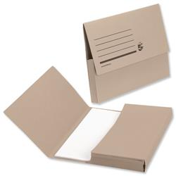 5 Star Office Document Wallet Half Flap 285gsm Recycled Capacity 32mm Foolscap Buff [Pack 50]