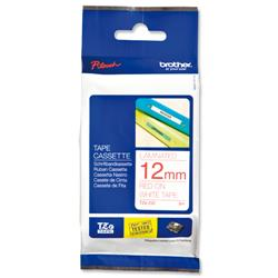 Brother P-touch TZ 232 Red on White 12mm x 8m TZ Tape Label Ref TZ232