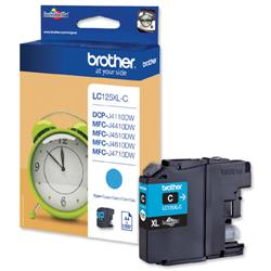 Brother Inkjet Cartridge Page Life 1200pp Cyan Ref LC125XLC