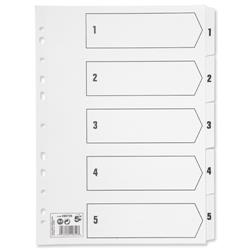 5 Star Office Index 150gsm Card with Mylar Tabs 1-5 A4 White