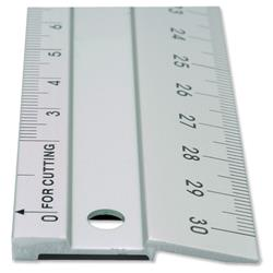 Linex Hobby 50cm Aluminium Cutting Ruler Anti-slip 1 Bevelled Side 1 Plain Side Ref LXE2950M