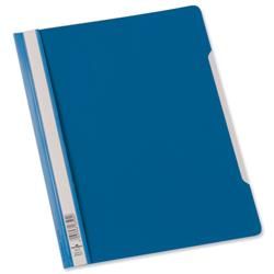 Durable A4 Clear View Folder Plastic with Index Strip Extra Wide Blue Ref 257006 - Pack 50