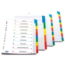 Elba Dividers Europunched 1-12 with Coloured Tabs A4 White Ref 100204616