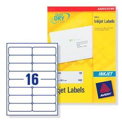 Avery J8162 Inkjet Address Labels 99.1x34.0mm 400 Labels White Ref J8162-25 - 25 Sheets