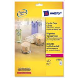 Avery L7780 Crystal Clear Round Laser Labels Transparent Ref L7780-25 - 600 Labels