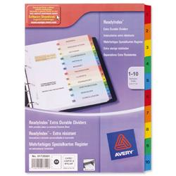 Avery ReadyIndex Dividers with Coloured Contents Sheet Matching Mylar Tabs 1-10 Ref 01735501.UK