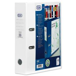 Elba Lever Arch File with Clear PVC Cover 70mm Spine A4 White Ref 650003 - Pack 10