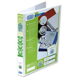 Elba Panorama Presentation Ring Binder PVC 4 D-Ring 25mm Capacity A4 White Ref 400008416 [Pack 6]