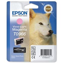 Epson T0966 Inkjet Cartridge UltraChrome K3 Husky Page Life 835pp Light Magenta Ref C13T09664010