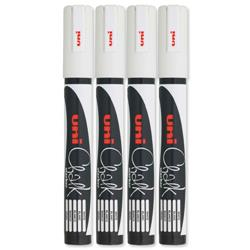 uni PWE-5M Chalk Marker Broad Bullet Tip Line Width 1.8-2.5mm White Ref 5046731 - Pack 4