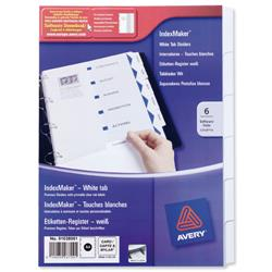 Avery IndexMaker Divider Set Punched 6-Part Ref 01638061.UK