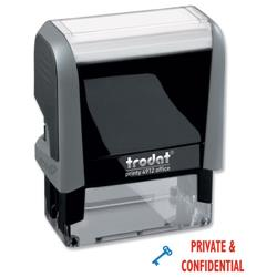 Trodat Office Printy Stamp Self-inking Private & Confidential 18x46mm Reinkable Red and Blue Ref 43360
