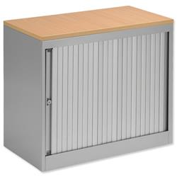 Bisley EuroTambour Desk-high Side-opening Silver Frame & Shutters Beech Top W800xD470xH720mm Ref 437878