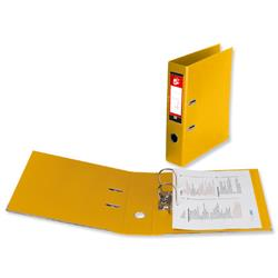 5 Star Office Lever Arch File Polypropylene Spine 70mm Foolscap Yellow [Pack 10]