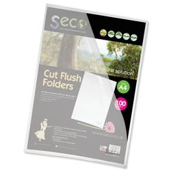 SSeco Folders Cut Flush Polypropylene Oxo-Biodegradable A4 Clear Ref LSF-CL [Pack 100]