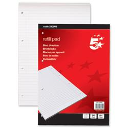 5 Star Office Refill Pad Feint Headbound Ruled with Margin 60gsm 4-Hole Punched 80 Sheets A4 [Pack 10]