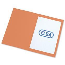 Elba Square Cut Folder Recycled Heavyweight 290gsm Foolscap Orange Ref 100090220 [Pack 100]
