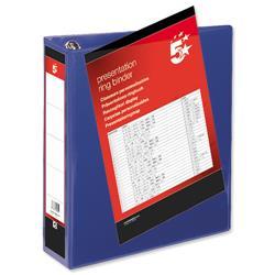 5 Star Office Presentation Ring Binder Polypropylene 4 D-Ring 65mm Size A4 Blue [Pack 10]