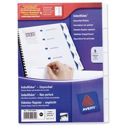 Avery IndexMaker Divider Set Unpunched A4 5-Part Ref 01814061FREE Filing Samples Pack