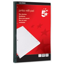 5 Star Office Jumbo Pad Feint Sidebound Ruled with Margin 60gsm 4-Hole Punched 200 Sheets A4 [Pack 4]