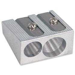 5 Star Office Pencil Sharpener Pocket-sized Metal for Max. Diameter 8mm Double Hole [Pack 5]