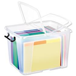 Strata HW674 40 Litre Smart Storemaster Box Folding Lid  & Clip Handles Clear Ref HW674CLR