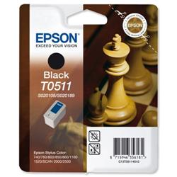 Epson T0511 Inkjet Cartridge Chess Page Life 900pp Black Ref C13T05114010