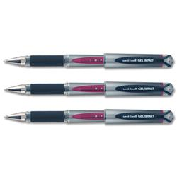 Uni-ball Gel Rollerball Pen UM153S Signo Impact Rubber Grip Medium 1.0mm Tip Red Ref 9006052 - Pack 12