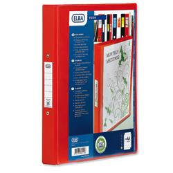 Elba Vision Ring Binder PVC Clear Front Pocket 4 O-Ring Size 25mm A4 Red Ref 100080880 [Pack 10]