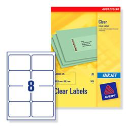 Avery J8565 Clear Inkjet Labels 99.1x67.7mm 8-label sheets Ref J8565-25 - 25 Sheets