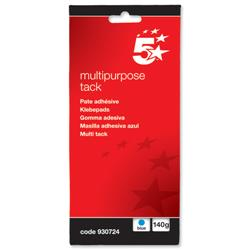 5 Star Office Multipurpose Tack Adhesive Re-usable Non-toxic 140g Blue [Pack 12]